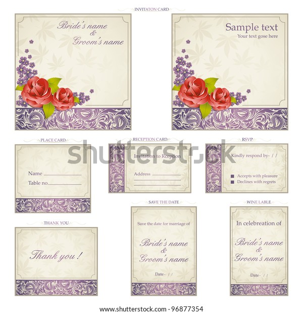 Illustration Set Wedding Reception Invitation Card Vintage