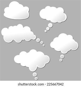 illustration of set of white design clouds