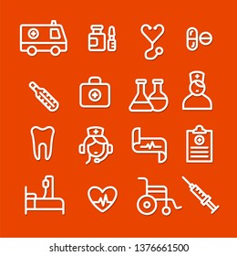 illustration set of white outlines medicine icons on the red background