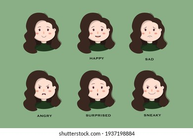 Illustration set of young female character with different emotions on a green background. Happy, Sad, Angry, Surprised, Sneaky. Idea for stickers, avatars. Flat vector design. Vector eps 10