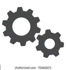 Illustration of settings icon on white background