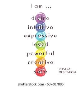 Illustration of Seven Chakras for Meditation