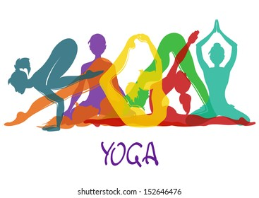 Illustration with seven colorful silhouettes of slim girl in yoga poses