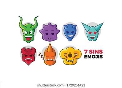 Illustration of seven deadly sin in cute monster emoji style