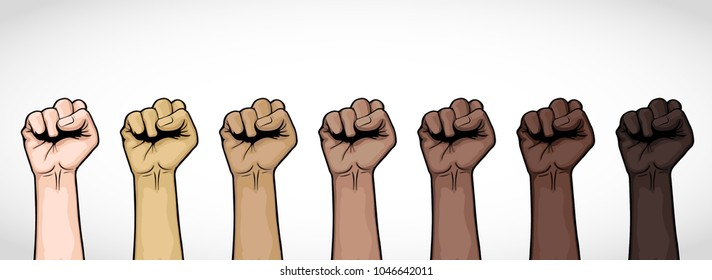 Illustration of seven fists upwards, different colors, vector by human rights.
