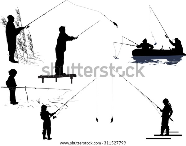 Illustration Seven Silhouettes People Fishing Isolated Stock Vector Royalty Free 311527799
