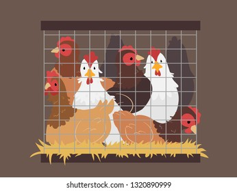 Illustration of Several Chickens Stuck Inside a Small Cage