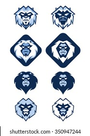Illustration of several different white blue Yeti head logo