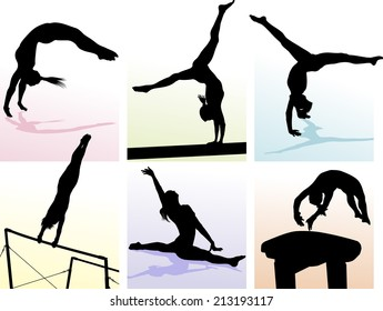 illustration of several gymnastic moves in pastel colored boxes.