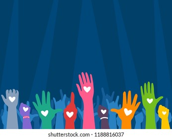 Illustration of Several Hands Silhouettes in Different Colors with Heart Shape Print. Benefit Concert