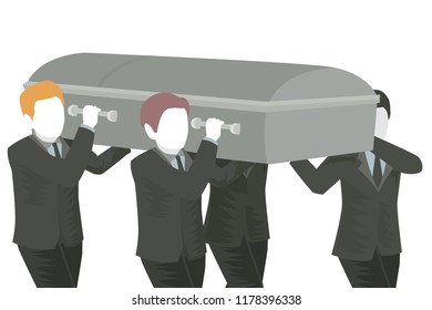 Illustration of Several Men Carrying a Casket at a Funeral