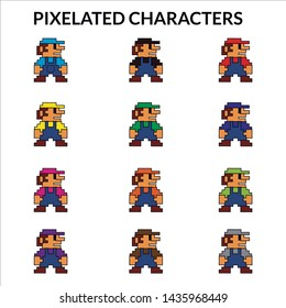 Illustration of several pixelated characters wearing different color clothes.