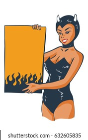Illustration of sexy devil girl holding sign board, vector