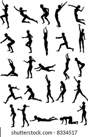 Illustration of sexy volleyball silhouettes