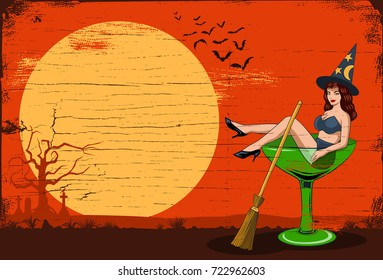 Illustration of a sexy witch sitting in a martini glass, Vector