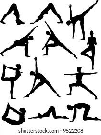Illustration of Sexy Yoga Silouettes - Vector