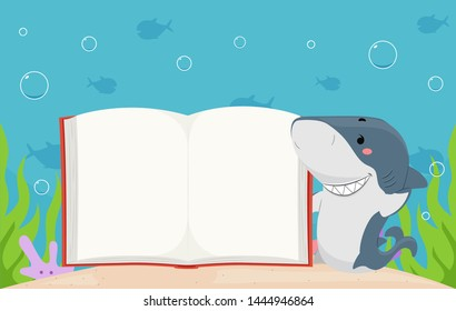 Illustration of a Shark Mascot Presenting an Open Blank Book Under the Sea