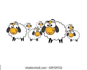Illustration sheep, comic sheep, white wool, big eyes, crtoonist, vector