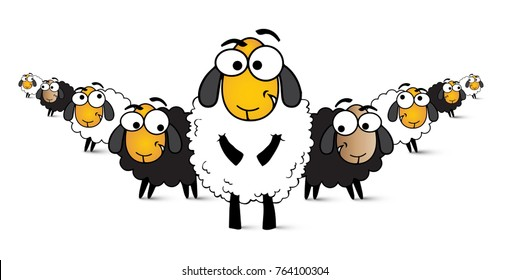 Illustration sheep, comic sheep, white wool, big eyes, cartoonist, vector