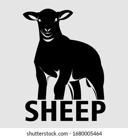 illustration of sheep for logo or icon of animal farm and animal bussnis