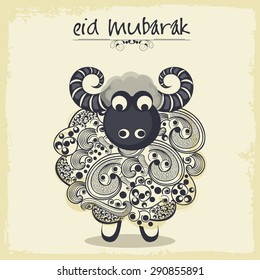 Illustration of a sheep for Muslim community festival, Eid Mubarak celebration.