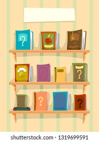 Illustration of a Shelf Full of Books with Question Marks. Mystery Books with Blank Banner