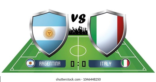 Illustration of shield flag of Argentina and Italy on the football field background. The concept of football match Argentina vs Italy.