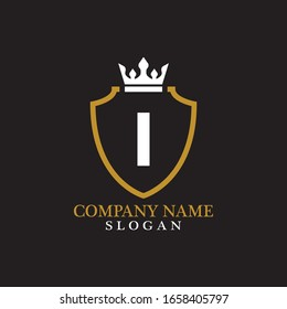 Illustration of Shield Shape with letter I in the middle and Luxury Crown. Logo Icon Template for Web and Business Card, Letter Logo Template on Black Background