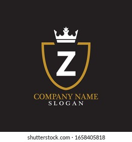 Illustration of Shield Shape with letter Z in the middle and Luxury Crown. Logo Icon Template for Web and Business Card, Letter Logo Template on Black Background