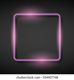 Illustration of  Shining square banner. Vector Neon Frame.