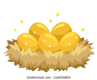 Illustration of Shiny Golden Eggs inside a Nest