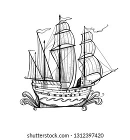 Illustration with a ship, sailboat. Beautiful graphics element. Vintage drawing. The seagoing vessel in the ocean with waves.