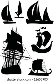 illustration with ship silhouette collection isolated on white background