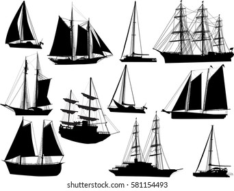 illustration with ship silhouettes isolated on white background