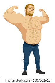 Illustration of a Shirtless Man Flexing His Arms with Hair All Over His Body