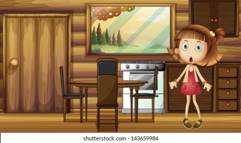 Illustration of a shocked girl at the kitchen