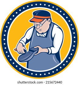 Illustration of a shoemaker cobbler shoe repair holding shoe working set inside circle on isolated background done in cartoon style.