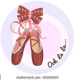 Illustration shoes with ribbons, Ooh la la