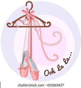 Illustration shoes with ribbons, Ooh la la,