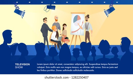 Illustration Shooting Business Television Show. Banner Vector Studio TV Channel. Young Bearded Guy Show Economic is Simple Graph. Scene Presenter, Journalist, Photographer. Group Spectator