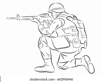 illustration of a shooting soldier, black and white drawing, white background