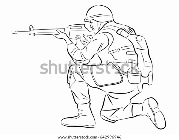 Illustration Shooting Soldier Black White Drawing Stock