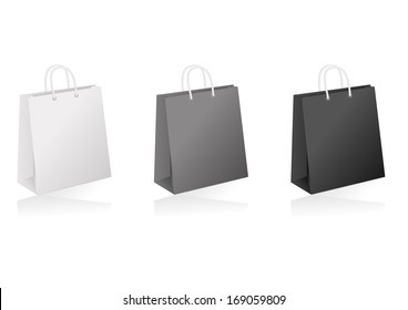 Illustration of shopping bags collection in white, black and grey colours