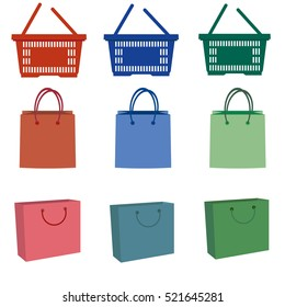 illustration of shopping bags on white background