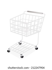 An Illustration of Shopping Cart Trolley or Basket Isolated on A White Background.