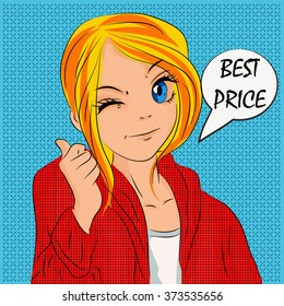 Illustration for shopping, discounts and sales in cartoon style. It can be used on labels, banners, promotions, cards and other interesting design for teens or children