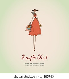 Illustration of shopping lady