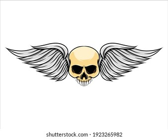 The illustration of the short wings with the dead skull