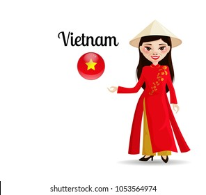 The illustration show the culture of Vietnam, one of the most beautiful part of it is people. A woman in a traditional dress reports welcome to my country.