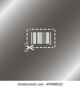 Illustration showing a barcode a dotted line around it and of scissors.